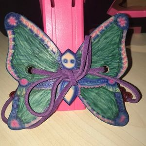 New Leather butterfly hair tie handmade 3.5 inch